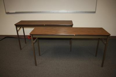 "(2) 60"" Long Collapsible & Stackable Tables"