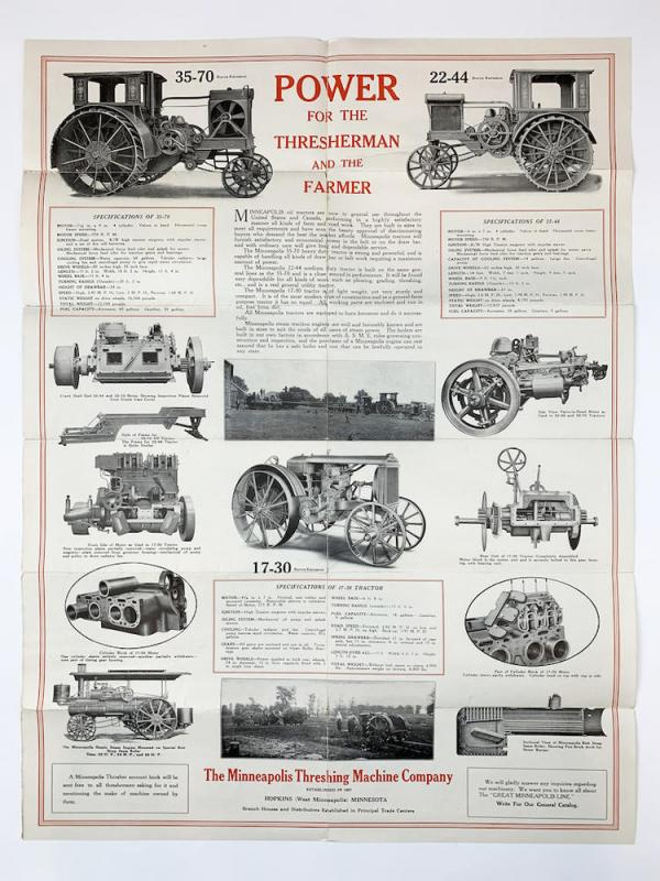 MINNEAPOLIS TRACTORS FOLDOUT POSTER BROCHURE