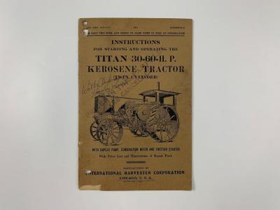 IHC TITAN 30-60 TRACTOR INSTRUCTIONS MANUAL AND PARTS LIST