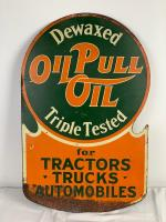 RuMELY OILPULL OIL FOR TRACTORS, TRUCKS & AUTOMOBILES, DOUBLE SIDED FLANGE SIGN