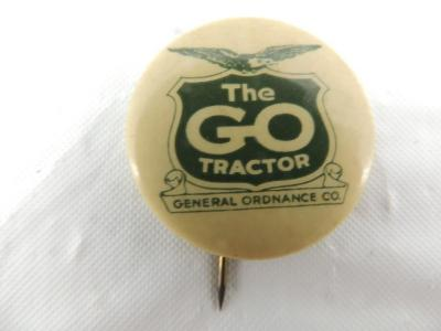 The GO Tractor Celluloid Pinback