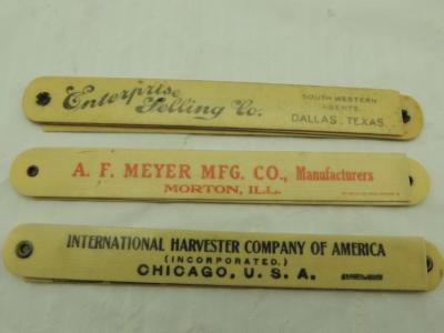 3 - Celluloid Swivel Rulers, IHC, A. F. Meyer Mfg. Co., The Turnbull Wagon Co.