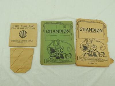 2 - IHC Items - Collapsible Paper Cup & IHC Champion Harvesting Machines Game