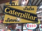 Caterpillar Sales Service Two Sided Hanger Porcelain Sign