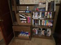 Bookcase, Side Table and CD Rack and Contents Lot