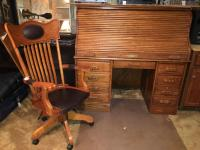 Wooden Roll Top Desk And Chair Lot