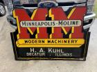 Minneapolis-Moline Modern Machinery Wood Framed Single sided tin diecut sign