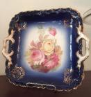 Double Handle Bavarian Square Cake Plate Cobalt, Gold with Roses