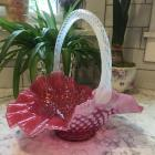 Cranberry Hobnail Basket with Applied Opalescent Handle