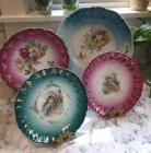 4 Antique Raspberry and Teal Plates