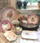 Large Group of Antique Pink Decorative Plates, Pitcher, Pin Trays, Cup