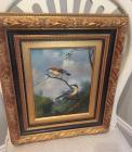 Vintage Oil Painting on Canvas Birds Gorgeous Gilded Frame