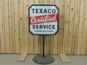 Texaco Certified Service DSP lollipop curb sign