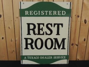 Texaco Rest Room NOS DST curb sign
