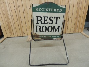 Texaco Rest Room die cut DST curb sign w/stand