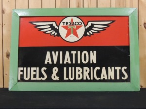 Texaco Aviation Fuels & Lubricants wood framed SST sign