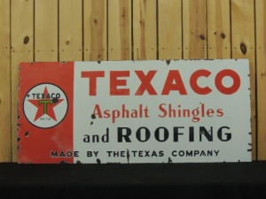 Texaco Asphalt Shingles and Roofing SSP sign