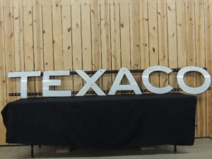 Texaco tank truck curved porcelain letters mounted on rails