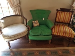 (3) Chairs Green/Striped/Rolling Lot