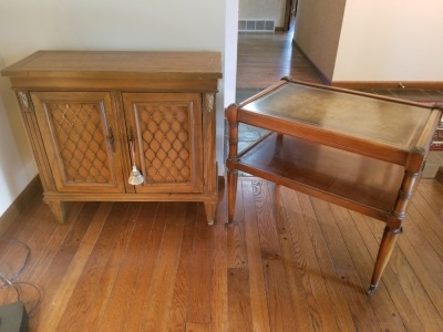 Wood Cabinet And Rolling Tiered Side Table Lot