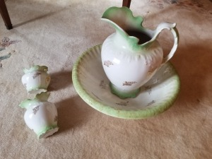 Semi Porcelain Pitcher And Bowl Lot