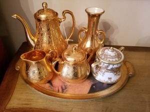 Hand Decorated Gold Tea Set