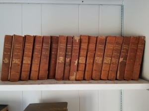 (17) Byron Works Leather Bound Books