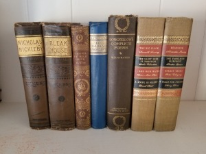 (7) Antique Books- Dickens, Longfellows,Ruskin