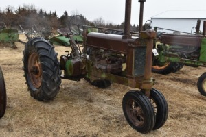 "John Deere Unstyled A with Very Rare 28"" round-spoke rear wheels"