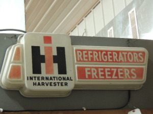 International Harvester Refrigerators Freezers single sided plastic light-up sign