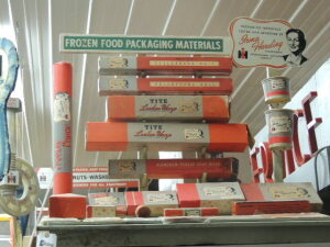 Irmal Harding Frozen Food Packaging Materials metal dealer display w/numerous samples