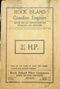Rock Island Plow Company Gasoline Engines 2.5 H.P. Repair Instructions