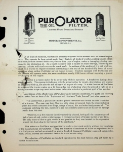 PurOlator, The Oil Filter Foldout