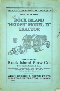 "Price List for Rock Island ""Heider"" Model ""D"" Tractor"