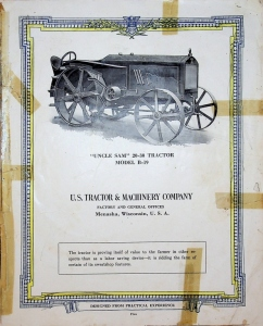 U.S. Tractor & Machinery Co. Uncle Sam 20-30 Tractor Model B-19 Catalog