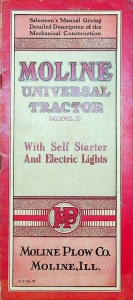 Moline Universal Tractor Model D. Salesmen's Manual