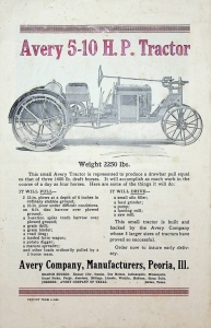 Avery Company Specifications and Description of Avery 5-10 H.P. Tractor