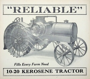 The Reliable Tractor 10-20 Kerosene Tractor Pamphlet with Specifications