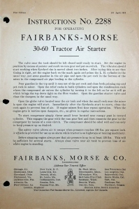 Fairbanks,Morse & Co. Tractor Air Starter