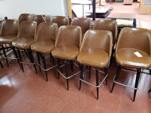 (12) Bar Height Brown Leather Stools