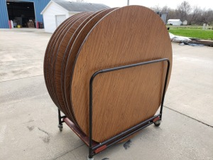 (8)  5 Ft Round Wooden Folding Tables With Carts
