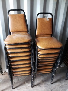 (20) Tan Colored Metal Chairs