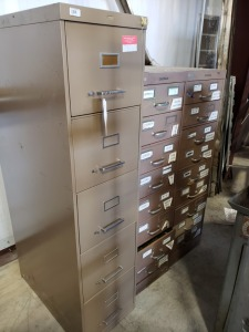 File Cabinet And (2) Index Card Filing Cabinets