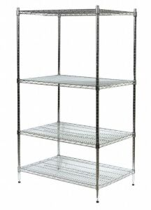 "Wire Shelving Unit, 48""W x 36""D x 63""H, 4 Shelves, Zinc Plated Finish, Silver"