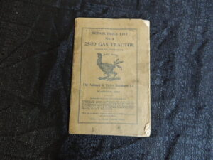 Aultman Taylor Machinery Co. 25-50 Gas Tractor Repair Price list No. 4