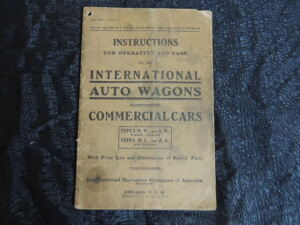 International Auto Wagons Commercial Cars Instructions Manual