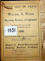 Walter A. Wood Mowing and Reaping Machine Company, Price List of Parts