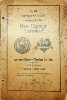 Advance-Rumely Thresher Co., Inc., Repair Parts List No. 24, New Century Thresher