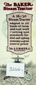 The Baker 16-30 Steam Tractor Brochure