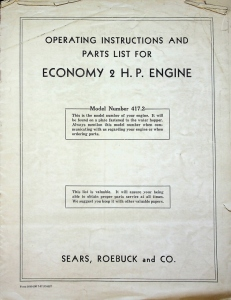 Sears, Roebuck and Co. Operating Instructions and Parts list for Economy 2 H.P. Engine, Model Number 417.2